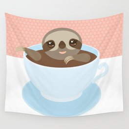 Sloth in a blue cup coffee, tea, Three-toed slot Wall Tapestry