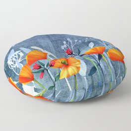 Summer night- Shadow of a Poppy meadow- Flowers Floor Pillow