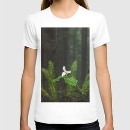 White Flowered Trillium Ovatum on the Edge of a Ledge in Lush Green Oregon Forest T-shirt