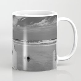 Exposed driftwood structure on Assateague Island (black and white) Coffee Mug