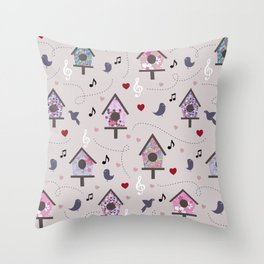 Birdhouse Throw Pillow