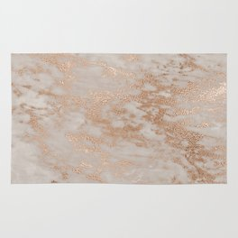 Rose Gold Copper Glitter Metal Foil Style Marble Rug