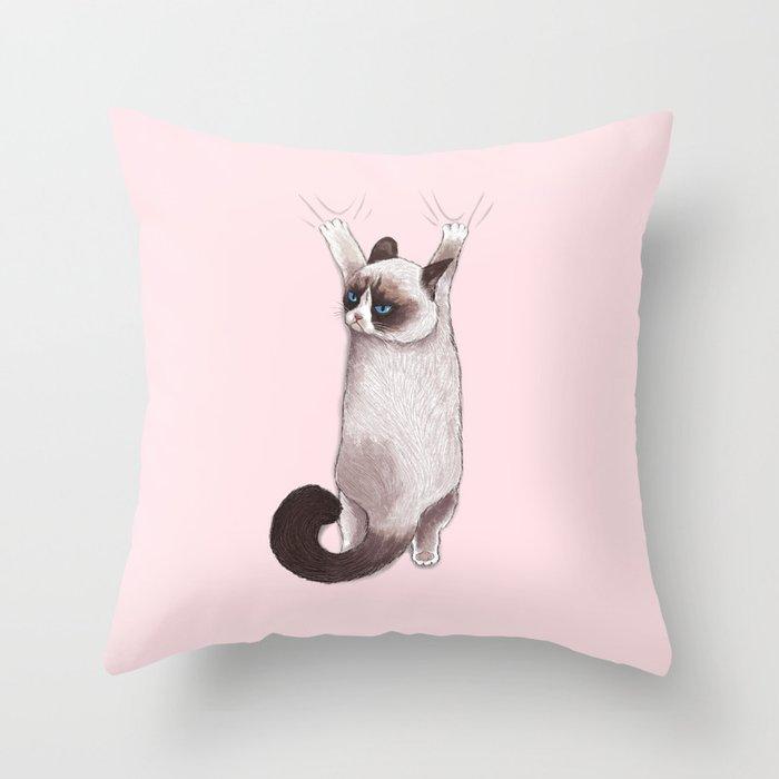 Grumpy Hang Throw Pillow