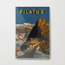 Pilatus Vintage Travel Poster Metal Print