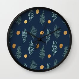 Gold dot and deep blue leaf pattern Wall Clock