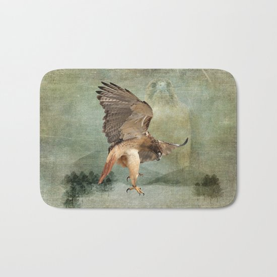 Feathered Fury Above Bath Mat