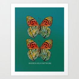 Himalayan Fritillary Butterfly - Emerald Green & Orange Red Art Print