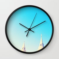 kansas city Wall Clocks featuring Kansas City Missouri Temple by Words for the Birds