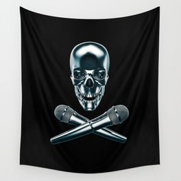 Pirate tunes / 3D render of skull and cross bones with microphones Wall Tapestry