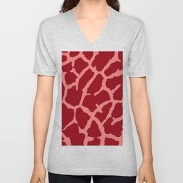 Red Giraffe Print Unisex V-Neck