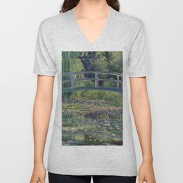 Water Lilies and the Japanese Bridge by Claude Monet Unisex V-Neck