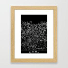 Jakarta Black Map Framed Art Print
