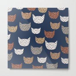 Leopard Kitty Cat Blue patern Design print Metal Print