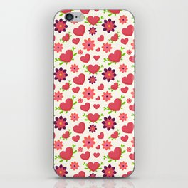 Valentine design. Red hearts on white. Doodle handmade hearts. iPhone Skin