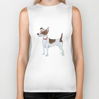 jack russell Biker Tanks featuring Jack Russell Terrier by Cathy Brear