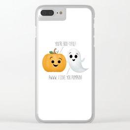 Boo-tiful Couple | Pumpkin & Ghost Clear iPhone Case