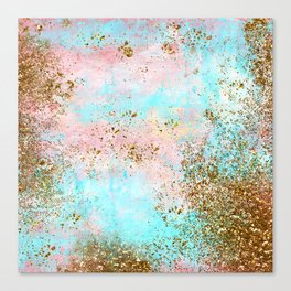 Pink and Gold Mermaid Sea Foam Glitter Canvas Print