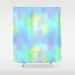 Blue Green and Yellow Mermaid Tail Abstraction. Magic Fish Scale Pattern Shower Curtain