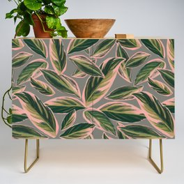 Calathea Leaves Pattern- Pink Green Gray Credenza