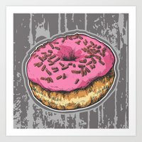 doughnut Art Prints featuring Doughnut by Katy V. Meehan