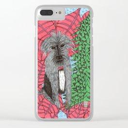 Scruffy Christmas Dog Clear iPhone Case