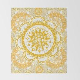 Orange Kaleidoscope Patterned Mandala Throw Blanket