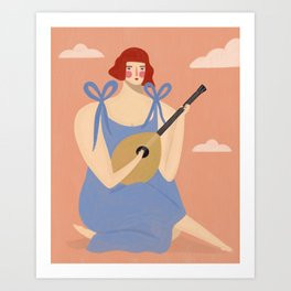 Lady with mandolin Art Print