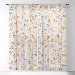 Vintage Wallpaper Birds Sheer Curtain