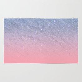 Modern blush coral pink pastel blue elegant faux glitter Rug