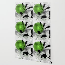 Abstract Black and White with Green Wallpaper