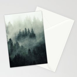 Misty pine fir forest landscape in hipster vintage retro style Stationery Cards