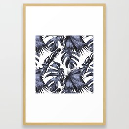 Classic Palm Leaves Navy Blue Framed Art Print