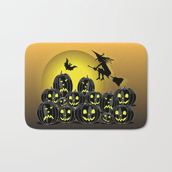 Pumpkins and witch in front of a full moon Bath Mat