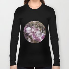 Pink Christmas shimmering baubles twig Long Sleeve T-shirt