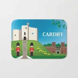 Cardiff, Wales - Skyline Illustration by Loose Petals Bath Mat