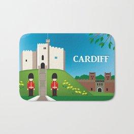 Cardiff, Wales - Skyline Illustration by Loose Petals Bath Mat