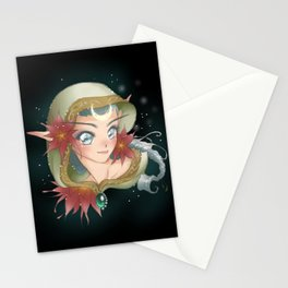 Poinsettia Elf Dark Stationery Cards