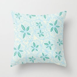 Sea Blue Lily Flower Throw Pillow