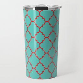 Quatrefoil - Turquoise & Red Travel Mug