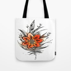Bronze flower Feather Tote Bag