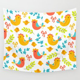 Easter Little Peeps Baby Chicks Pattern Wall Tapestry