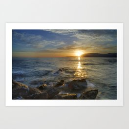 Crepuscular rays at the sea Art Print