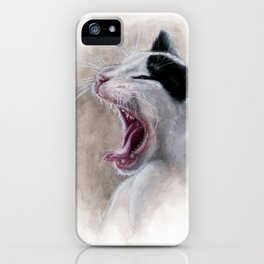 Cat's yawn Watercolor Art iPhone Case