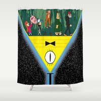 gravity falls Shower Curtains featuring Gravity Falls by itspronouncedDEE-ANN-UH
