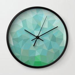 Shattered Aqua Low Poly Wall Clock