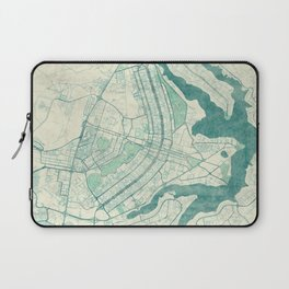 Brasilia Map Blue Vintage Laptop Sleeve