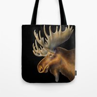 moose Tote Bags featuring Moose by Tim Jeffs Art