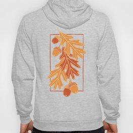 Autumn oak leaves and acorns pattern (Warm autumn colors) Hoody