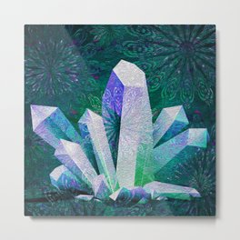 Crystal Mandala Fireworks Metal Print