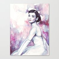 audrey hepburn Canvas Prints featuring Audrey Hepburn by Olechka
